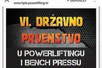Započinje dvodnevni sportski događaj - 6. prvenstvo Hrvatske u powerliftingu i bench pressu