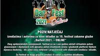 Otvorene prijave za festival zabavne glazbe 'Darfest 2021. – online'